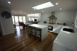 Kitchen through to dining & living